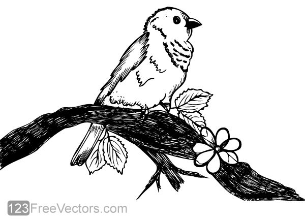 Cute bird on tree branch vector art by 123freevectors on for Cute tree drawing