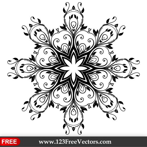 Black Flower Decorative Frame Vectors Material 04 Free: Vector Floral Ornate Decorative Element By 123freevectors