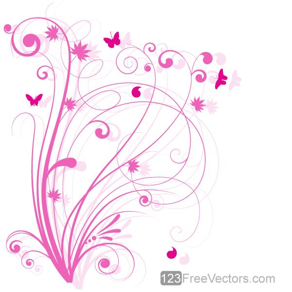 Vector Floral Design 5 Pink Floral Background by ...