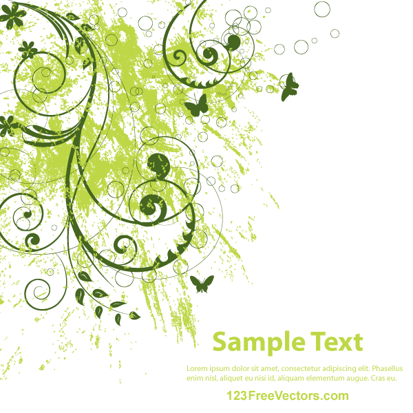 Vector Abstract Grunge Floral Background By 123freevectors
