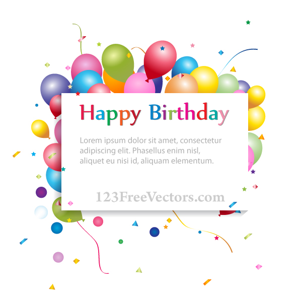 Happy Birthday Background With Banner Balloons By