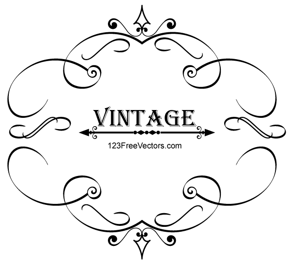 Vintage Calligraphy Frame Vector Graphics By