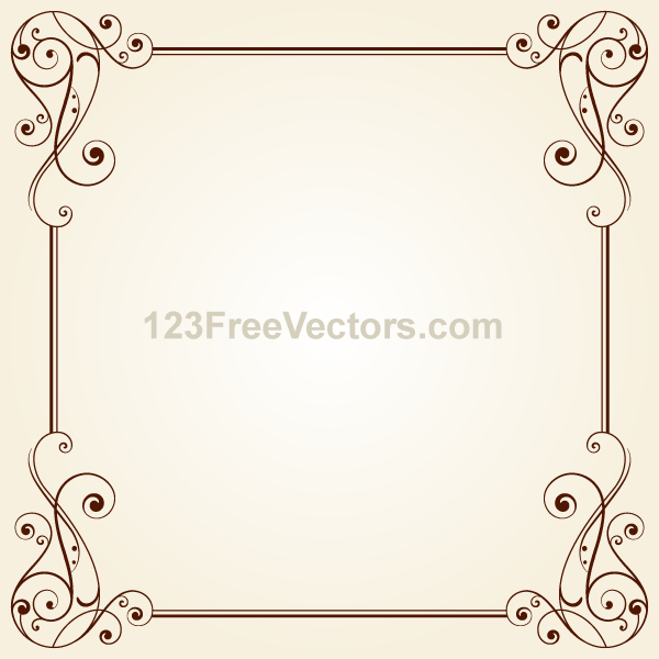 vintage ornate frame border design vector by