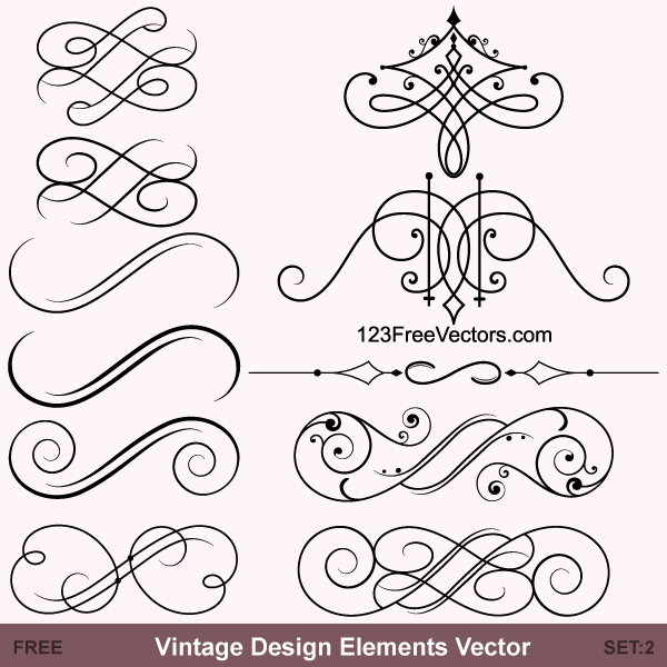 Vintage Calligraphic Vector Ornaments By 123freevectors On