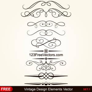 Vintage Calligraphic Decorative Elements Vector
