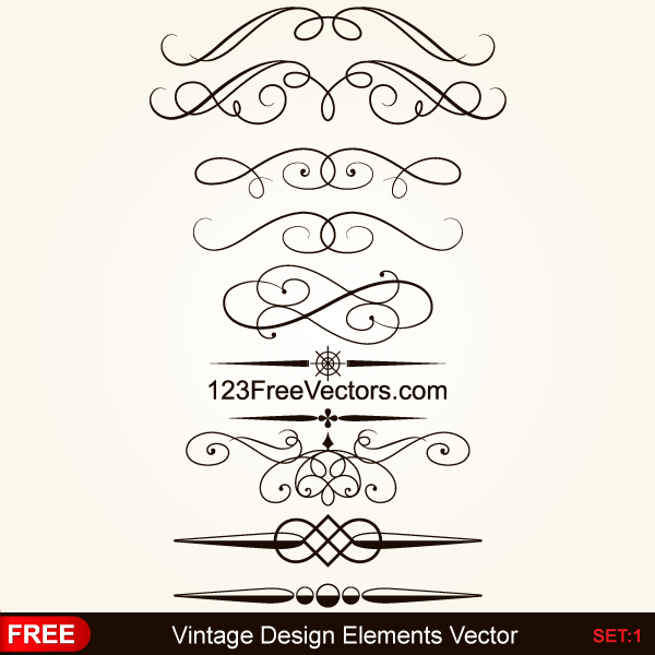 Vintage Calligraphic Decorative Elements Vector by 123freevectors on ...