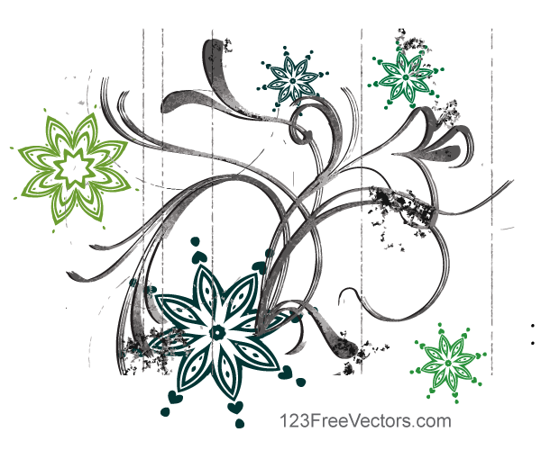 Abstract Flower Design Vector Graphics By 123freevectors