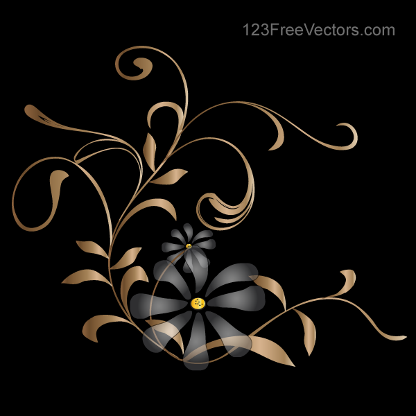 vector background with golden floral by 123freevectors on floral border vector cdr floral border vector image