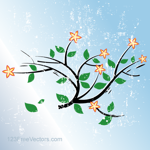 Grunge Blue Vector Background with Flowers by 123freevectors