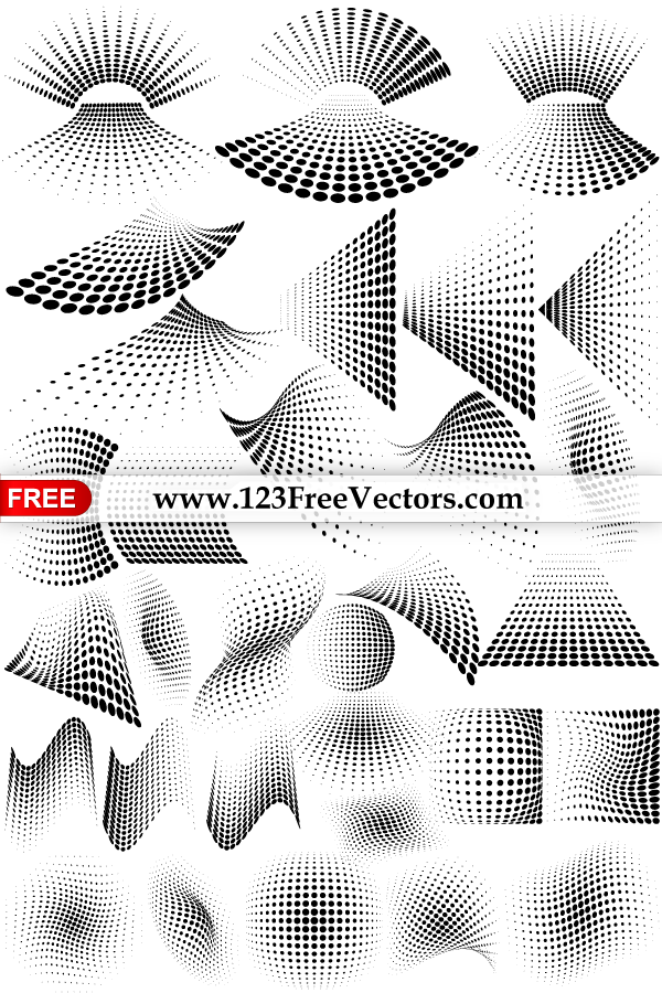 Line Art Vs Halftone : Vector graphics halftone dots design elements by