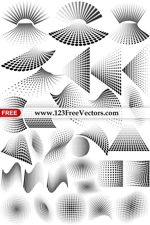 Line Art Vs Halftone : Vector graphics halftone dots design elements by