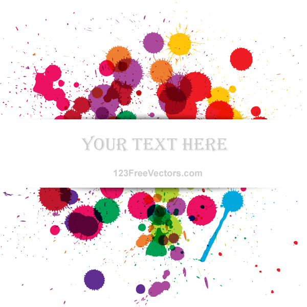 Vector Colorful Grunge Splashes Banner by 123freevectors