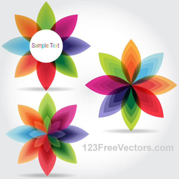 Colorful Fantasy Flowers Vector Graphics by 123freevectors