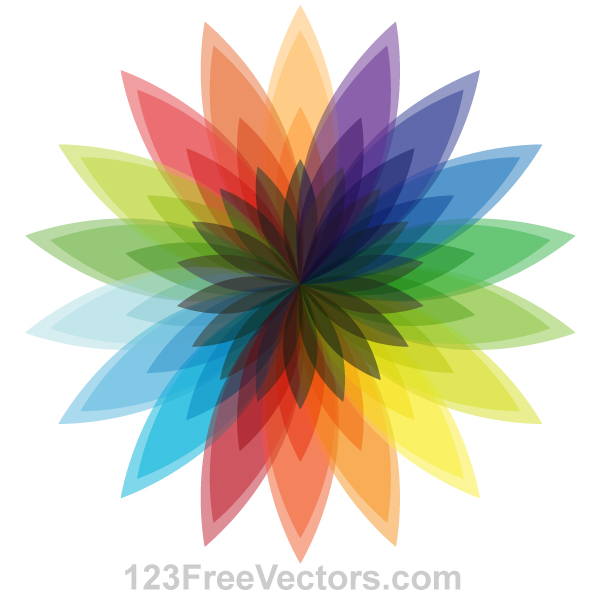 Vector Multicolor Flower Design by 123freevectors
