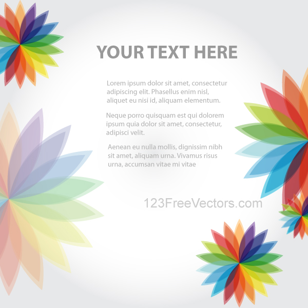 Abstract Background With Colorful Flowers Vector By