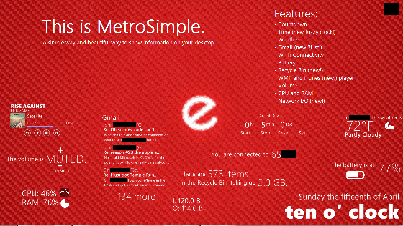 MetroSimple Rainmeter Skin BETA 2 by dmon633