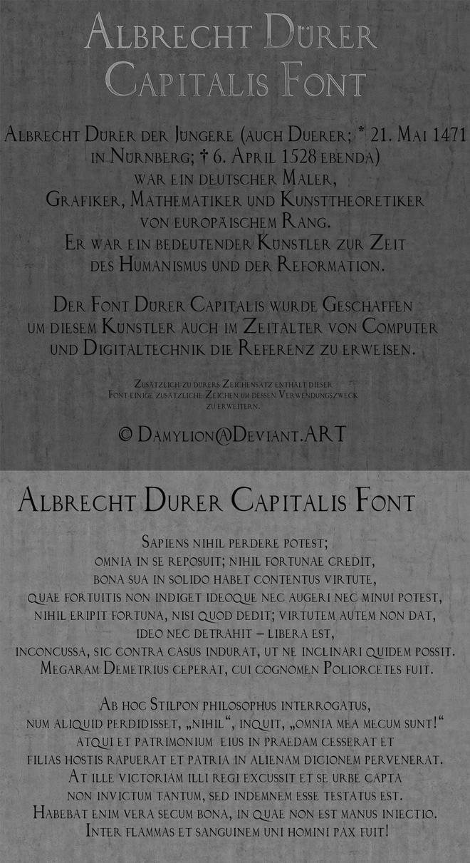 Durer Capitalis TTF Font by damylion