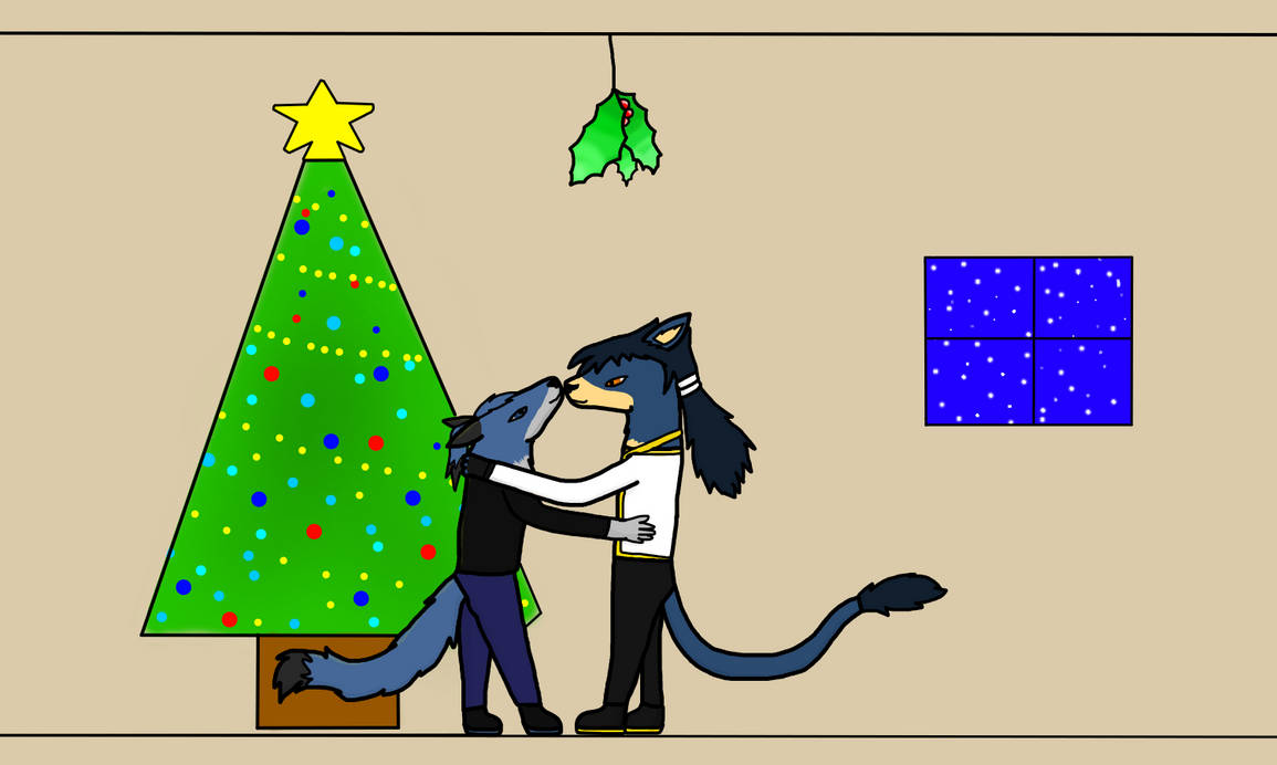Under the mistletoe (gift) by Haunted-dark-Umbreon