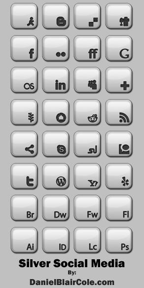Silver Social Media Icons