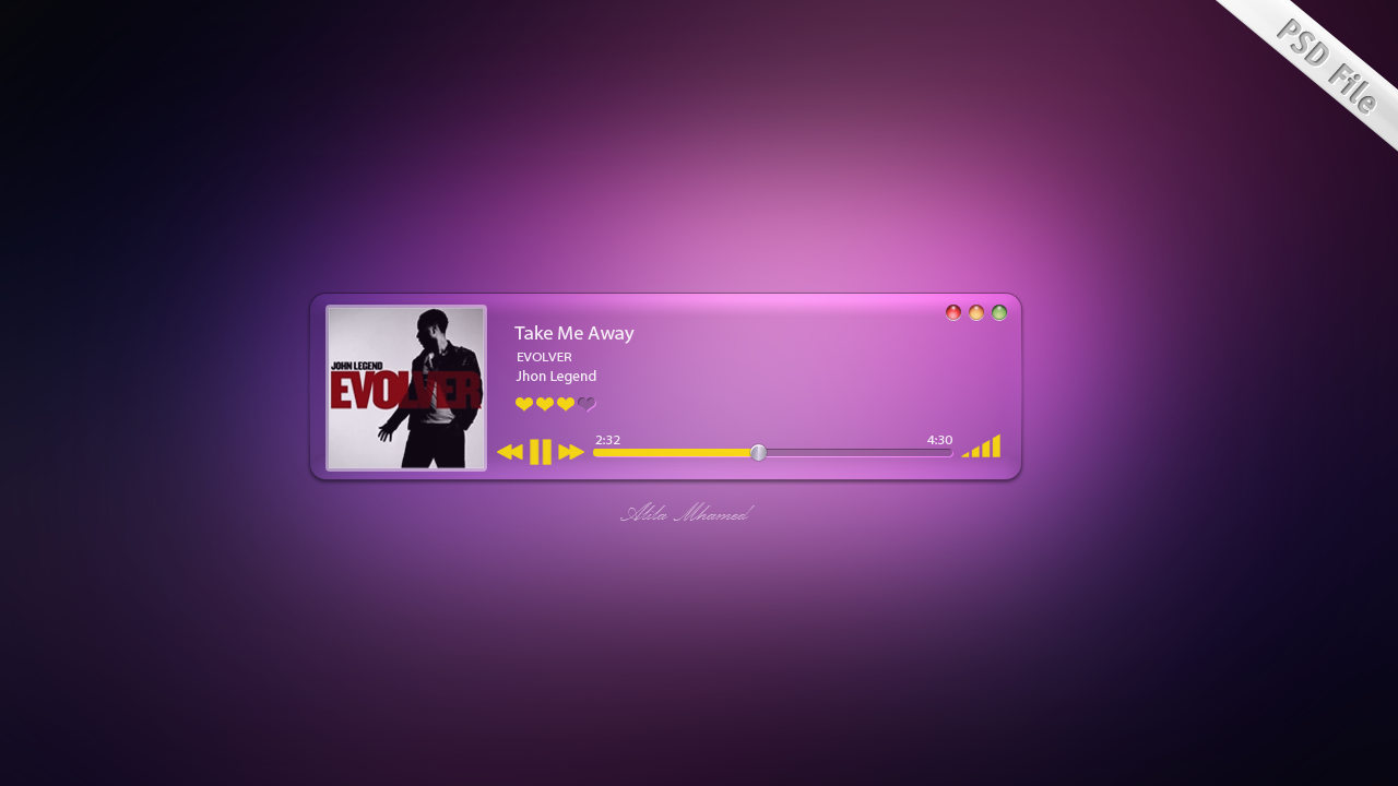 Mac OS : Music player PSD file