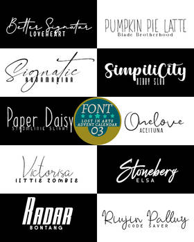Lost in Arts Adventscalender Fontpack 3