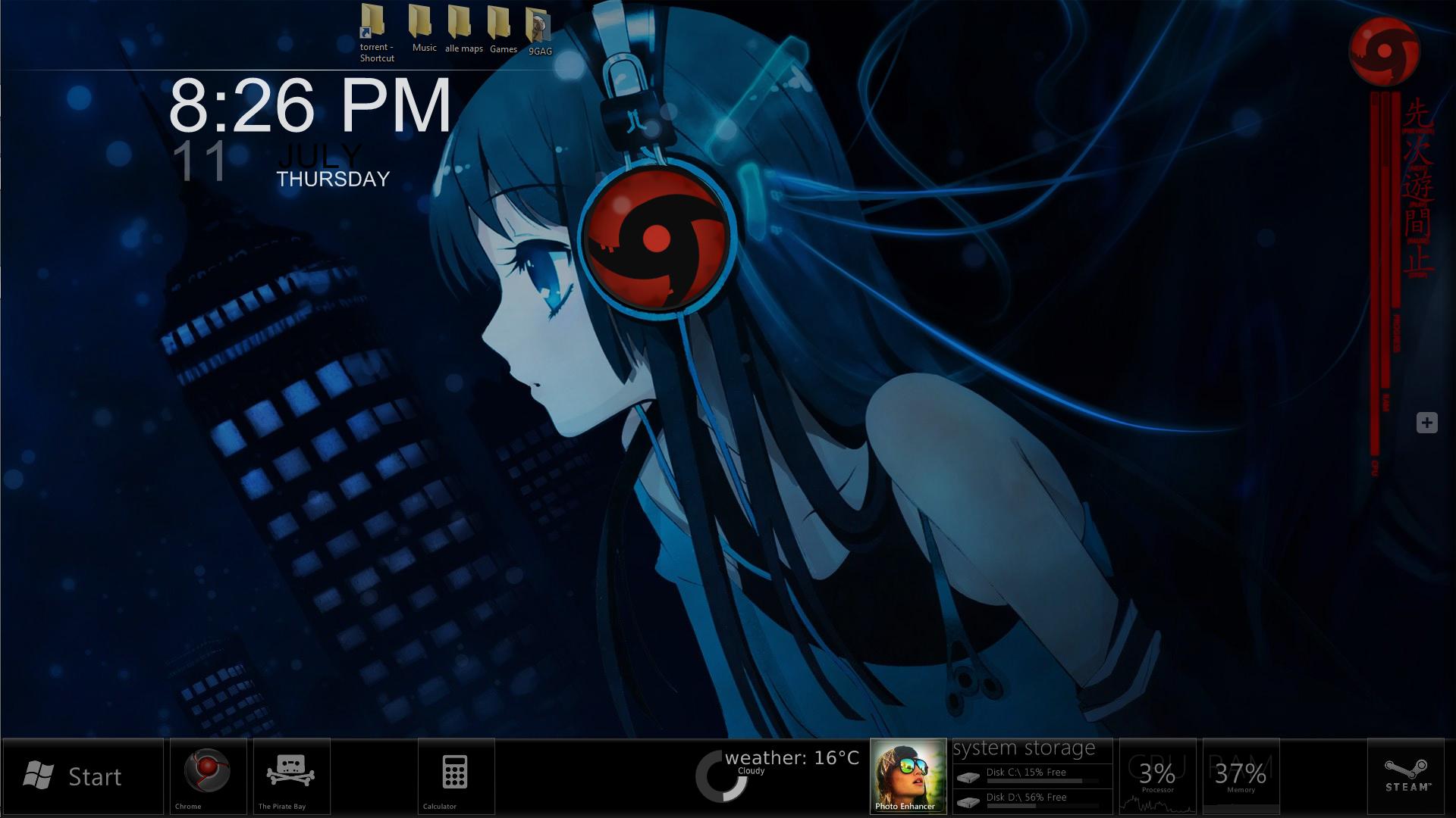 Gmail theme anime - Metropolis79 9 2 Rainmeter Anime Theme By Pixpox