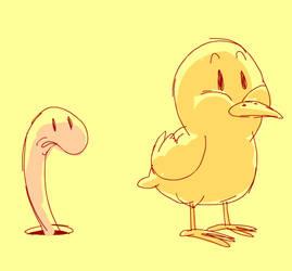 Little Chick VS Worm 2D anima