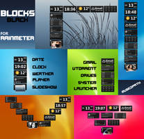 BLACK BLOCKS Skins for Rainmeter by musicopath