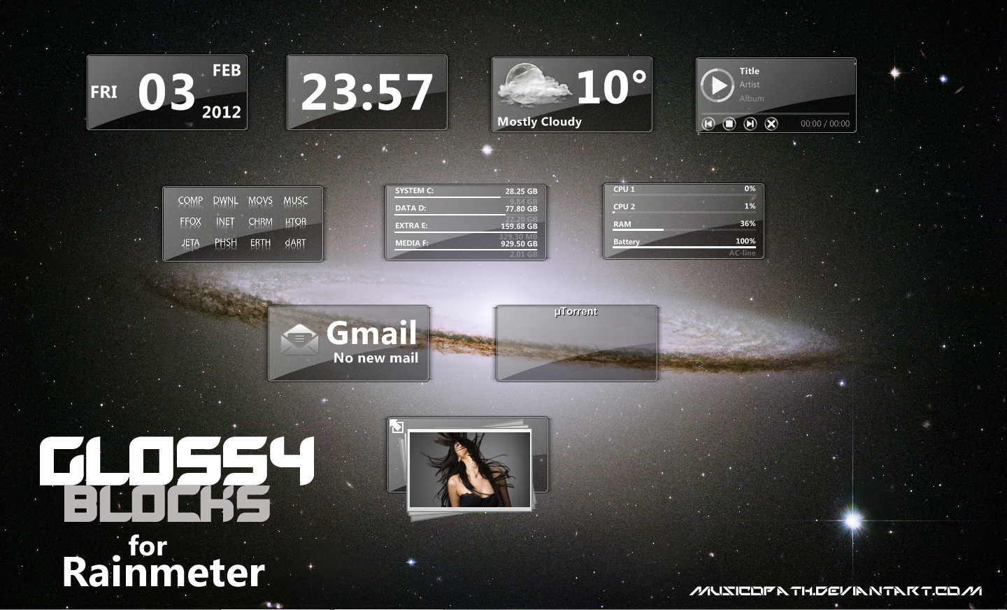 GLOSSY BLOCKS for Rainmeter by musicopath