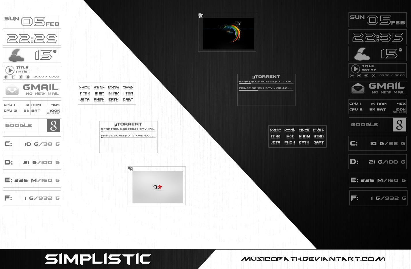 Simplistic Rainmeter by musicopath