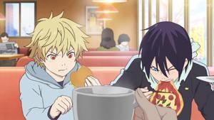 Yukine y Yato Comiendo-Noragami