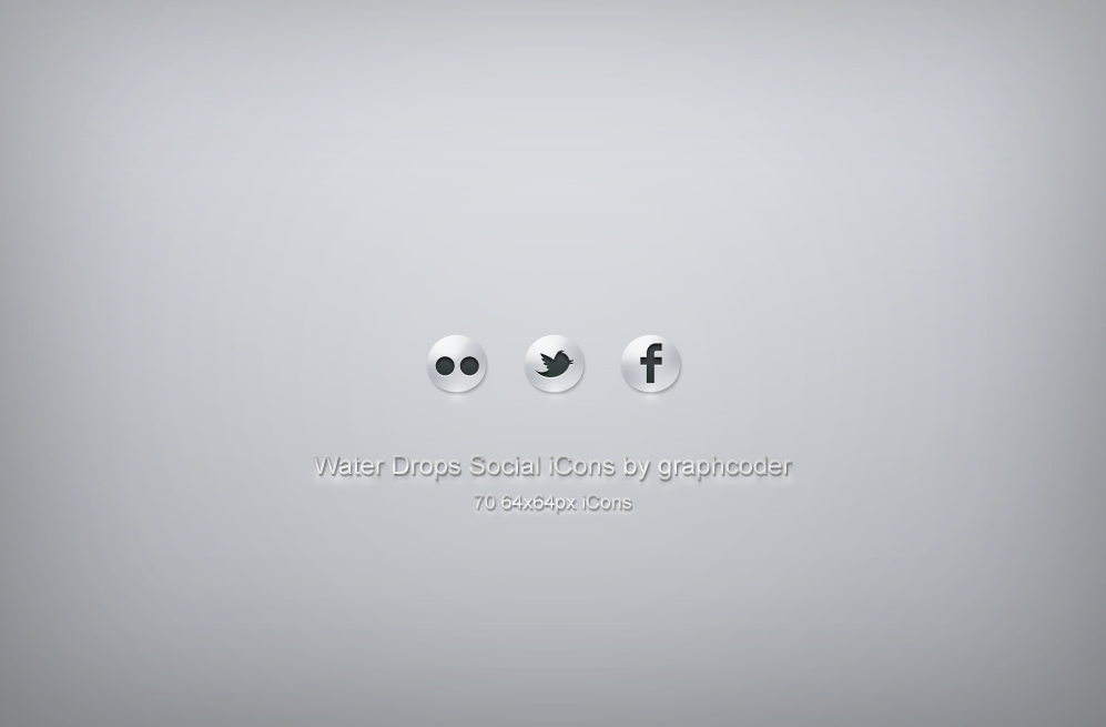 70 water drops social icons