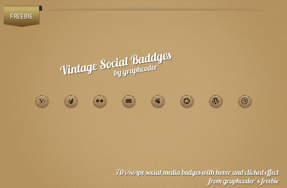 70 Vintage Social Badges by graphcoder