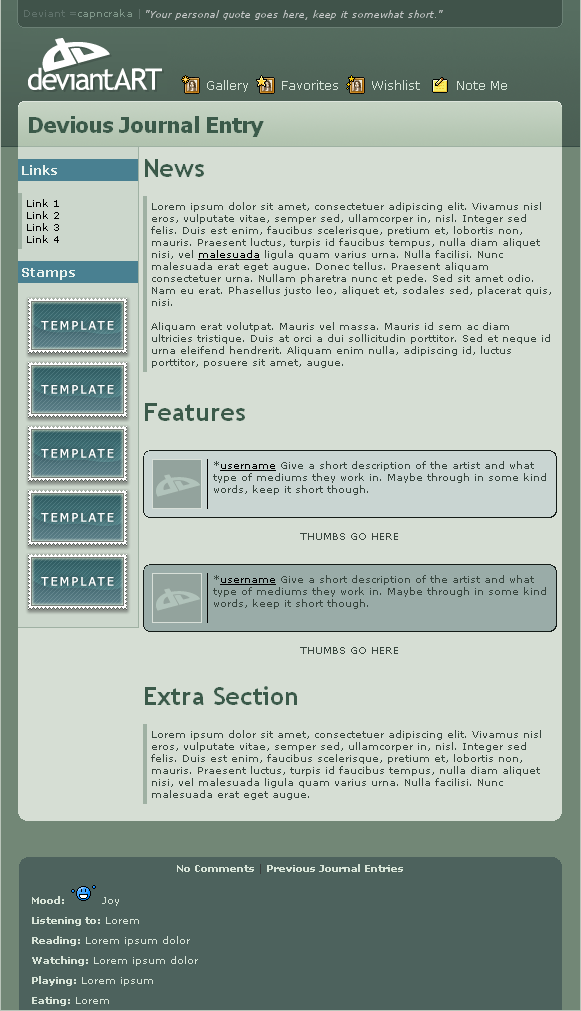 dA V6 Journal CSS by capncraka