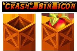 Crash Bandicoot themed trash bin icons