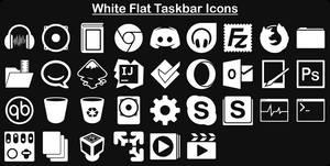 White Flat Taskbar Icons