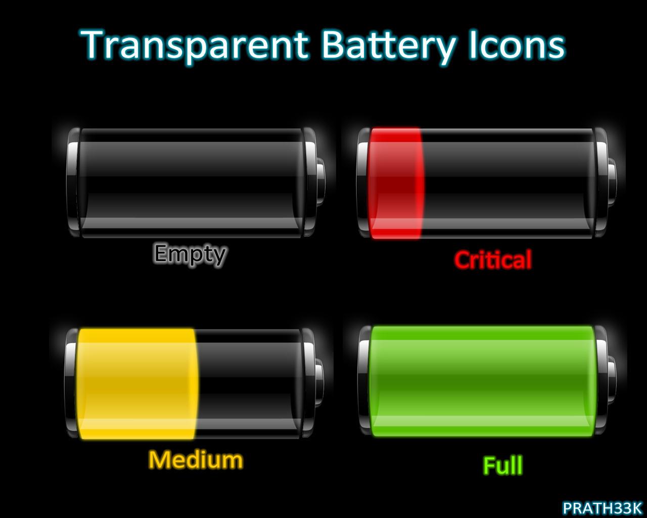 Transparent Battery Icons by PRATH33K