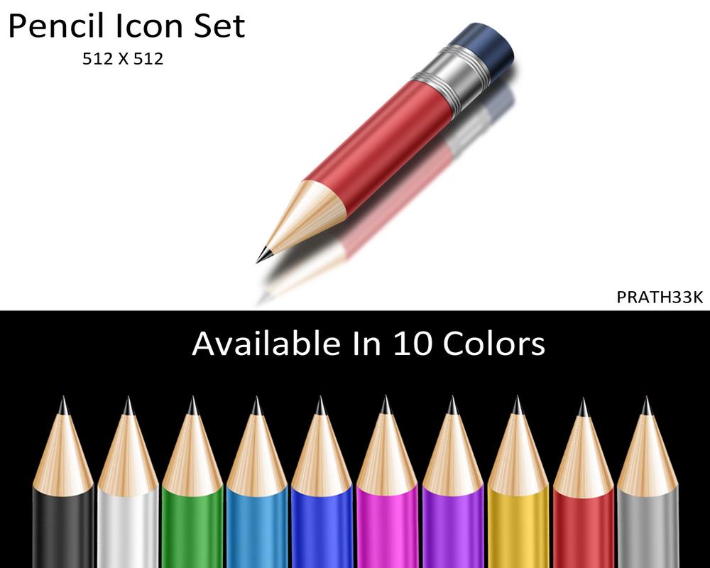 Shiny Pencil Icon Set by PRATH33K