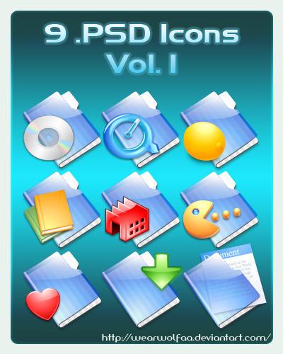 9 .PSD Icons Vol. 1 by Wearwolfaa