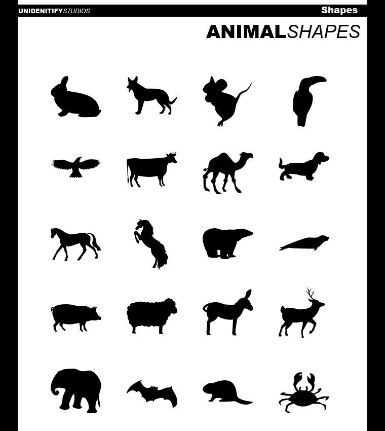 20 Animal Shapes for Photoshop by ~UnidentifyStudios on deviantART