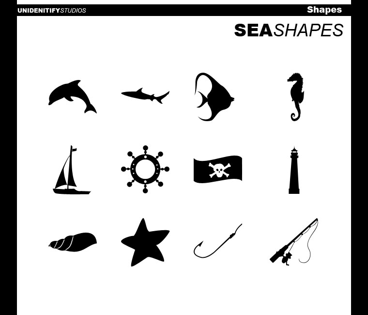 12 Sea Shapes for Photoshop