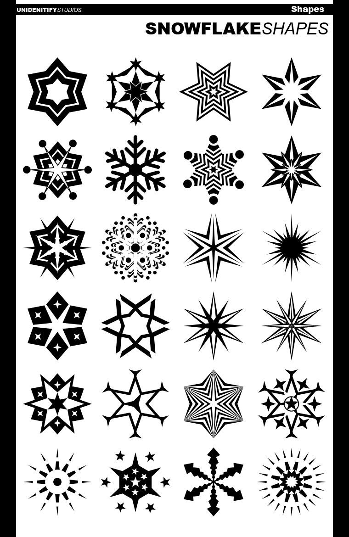 24 Abstract Snowflake Shapes