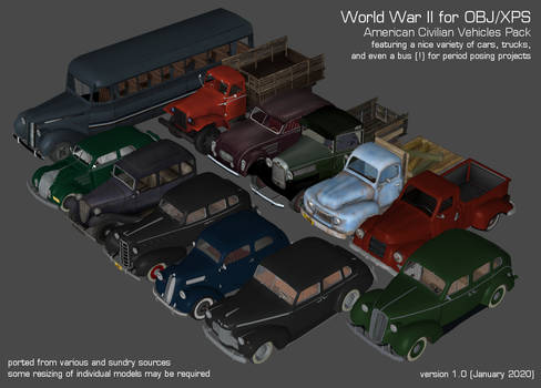 World War II - American Civilian Vehicles Pack