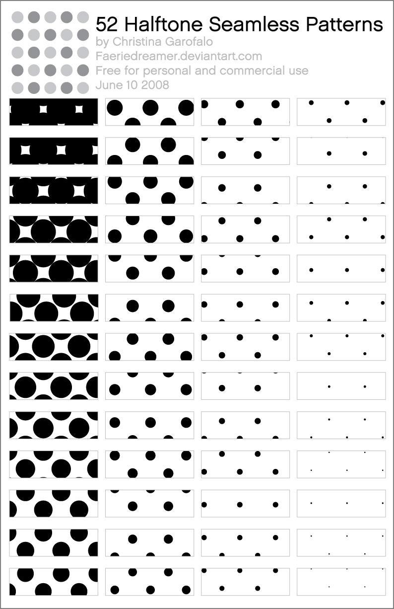 52 Halftone Patterns by Faeriedreamer