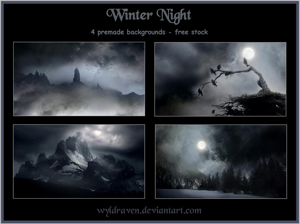 Winter Night Backgrounds By Wyldraven On Deviantart