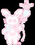 floofy pink bunny holding a balloon