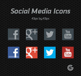 Free Social Media Icon set (PSD) Updated by Garconis