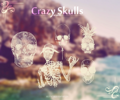 Crazy Skulls {Brushes} by Julieta7599