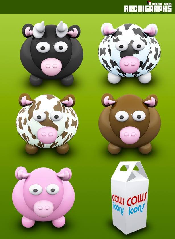 Archigraphs Cows Dock Icons by Cyberella74
