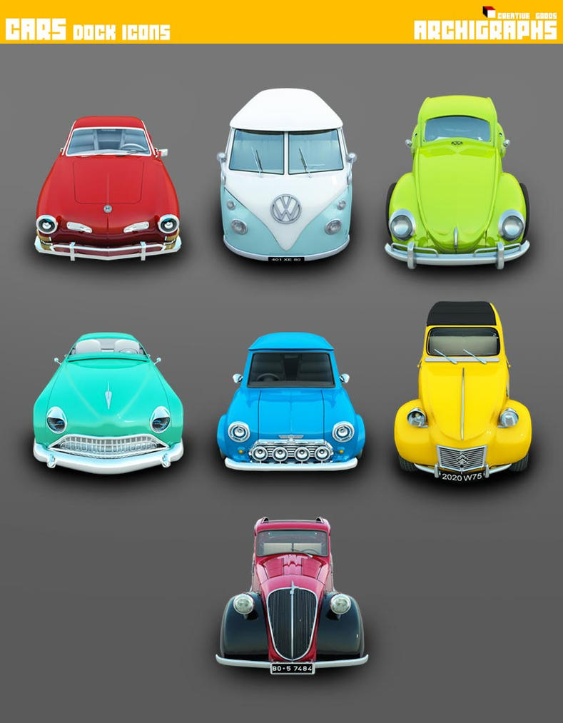 Vintage car icons : set of six cars
